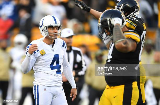 Adam Vinatieri of the Indianapolis Colts reacts after missing a 60yard field goal during the fourth quarter against the Pittsburgh Steelers at Heinz...