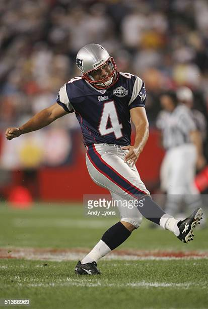 Adam Vinatieri of the New England Patriots kicks the ball during the NFL game against the Indianapolis Colts at Gillette Stadium on September 9 2004...