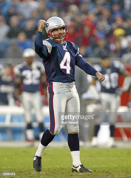 Adam Vinatieri of the New England Patriots pumps his fist after kicking his third field goal against the Cleveland Browns on October 26, 2003 at...