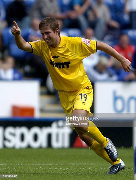 Adam Virgo of Brighton celebrates his goal during the CocaCola Championship match between Leicester City and Brighton and Hove Albion at the Walkers...