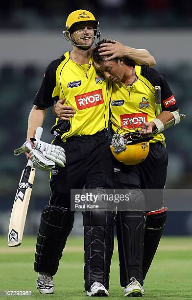 Adam Voges and Luke Ronchi of the Warriors celebrate winning the Ryobi One Day Cup match between the Western Australia Warriors and the Queensland...