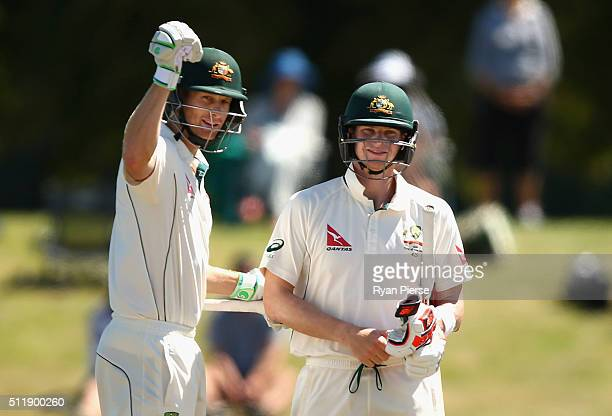Adam Voges and Steve Smith of Australia celebrate after hitting the winning runs during day five of the Test match between New Zealand and Australia...