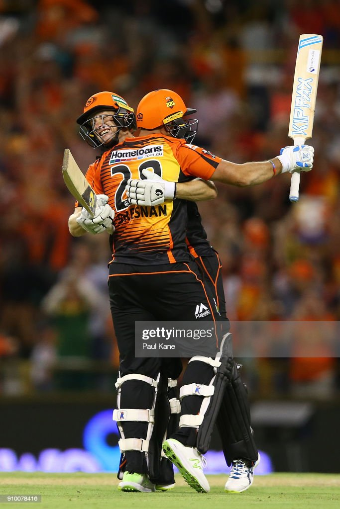 Adam Voges and Tim Bresnan of the Scorchers celebrate winning the Big Bash League match between the Perth Scorchers and the Adelaide Strikers at WACA on January 25, 2018 in Perth, Australia.