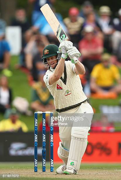 Adam Voges of Australia bats during day three of the Test match between New Zealand and Australia at Hagley Oval on February 22 2016 in Christchurch...