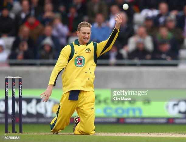 Adam Voges of Australia celebrates dismissing Joe Root of England caught and bowled during the third NatWest One Day International Series match...