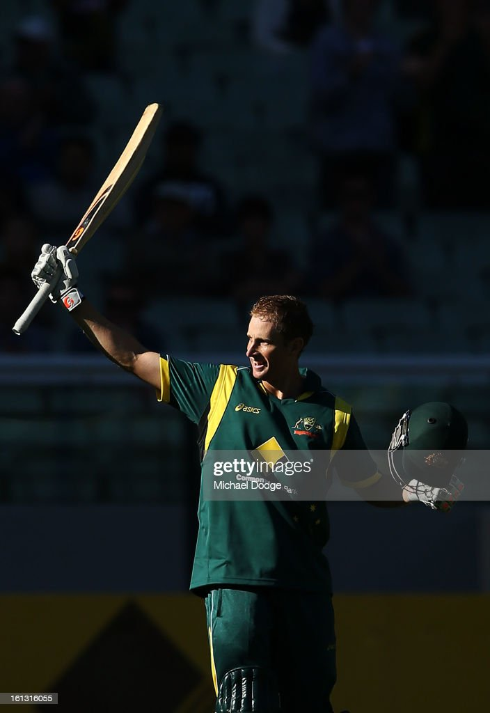 Adam Voges of Australia celebrates his century during game five of the Commonwealth Bank International Series between Australia and the West Indies at Melbourne Cricket Ground on February 10, 2013 in Melbourne, Australia.