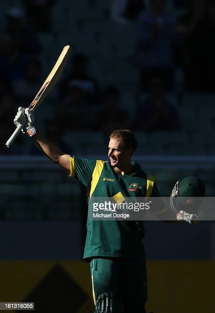 Adam Voges of Australia celebrates his century during game five of the Commonwealth Bank International Series between Australia and the West Indies...
