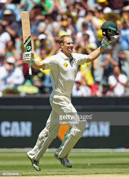 Adam Voges of Australia celebrates making a century during day two of the Second Test match between Australia and the West Indies at Melbourne...