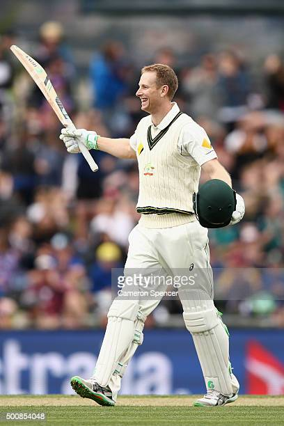 Adam Voges of Australia celebrates scoring 200 runs during day two of the First Test match between Australia and the West Indies at Blundstone Arena...