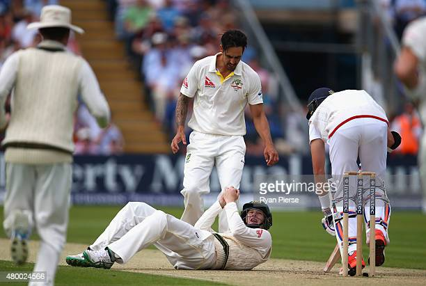 Adam Voges of Australia claims a catch to dismiss Stuart Broad of England off the bowling of Mitchell Johnson of Australia which was reviewed and...