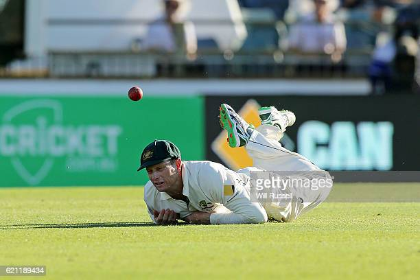 Adam Voges of Australia drops a catch off Quinton de Kock of South Africa during day three of the First Test match between Australia and South Africa...