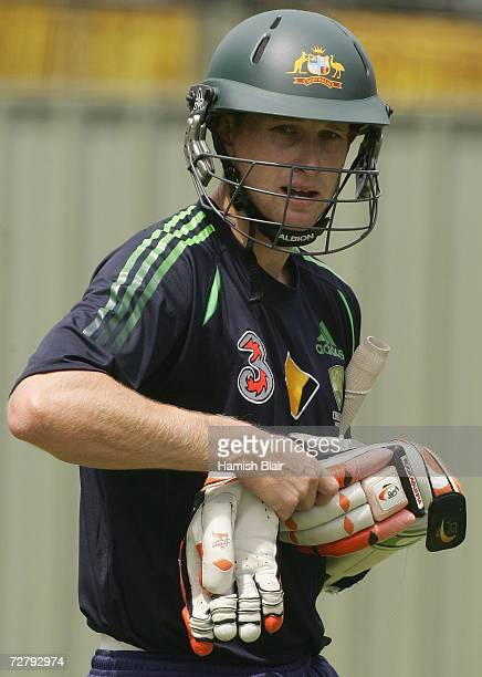 Adam Voges of Australia leaves the nets during the Australian nets session at the WACA on December 11 2006 in Perth Australia