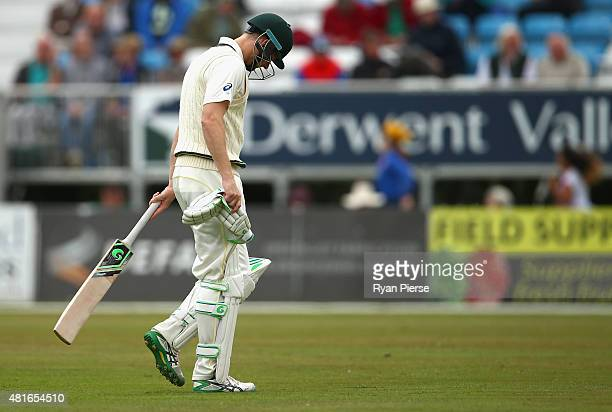 Adam Voges of Australia looks dejected after being dismissed by Will Davis of Derbyshire during day one of the Tour Match between Derbyshire and...