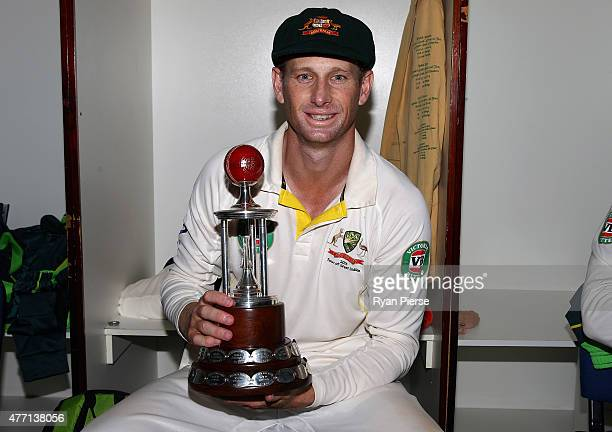 Adam Voges of Australia poses with the Frank Worrell Trophy in the change rooms after day four of the Second Test match between Australia and the...