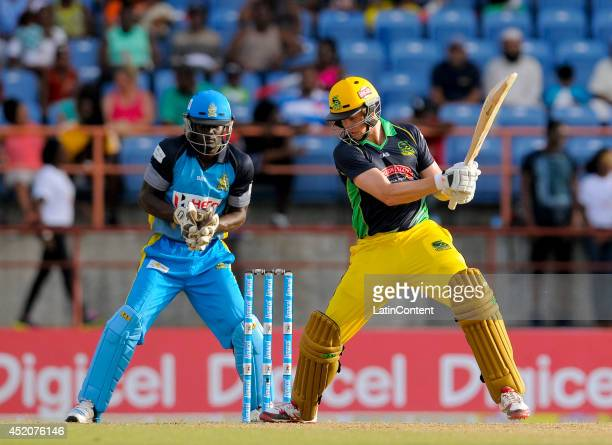 Adam Voges of Jamaica Tallawahs hits 4 during a match between St Lucia Zouks and Jamaica Tallawahs as part of the week 1 of Caribbean Premier League...