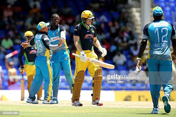 Adam Voges of Jamaica Tallawahs is dismissed during a match between Jamaica Tallawahs and St Lucia Zouks as part of week 5 of the Limacol Caribbean...