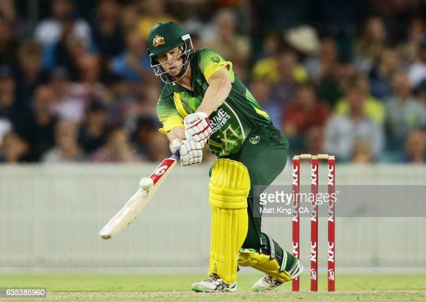 Adam Voges of the Australian PMXI bats during the T20 warm up match between the Australian PM's XI and Sri Lanka at Manuka Oval on February 15 2017...
