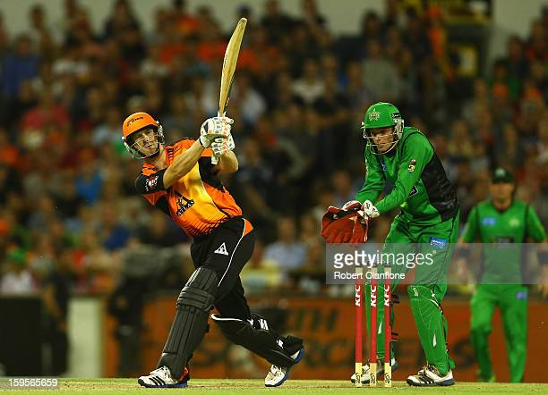 Adam Voges of the Perth Scorchers bats during the Big Bash League semifinal match between the Perth Scorchers and the Melbourne Stars at the WACA on...