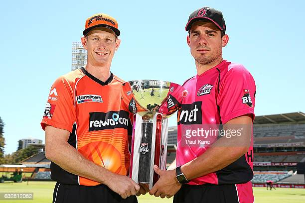 Adam Voges of the Scorchers and Moises Henriques of the Sixers pose with BBL trophy during a Big Bash League media opportunity at WACA on January 27...