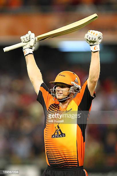 Adam Voges of the Scorchers celebrates after his team's victory during the Big Bash League semifinal match between the Perth Scorchers and the...