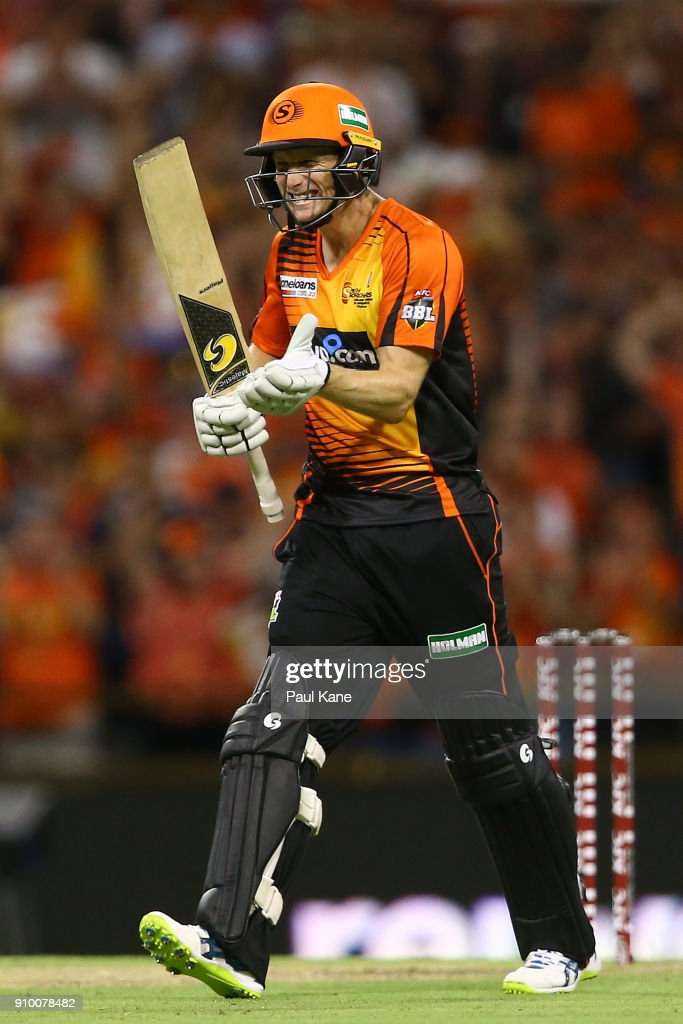 Adam Voges of the Scorchers celebrates after winning the Big Bash League match between the Perth Scorchers and the Adelaide Strikers at WACA on January 25, 2018 in Perth, Australia.