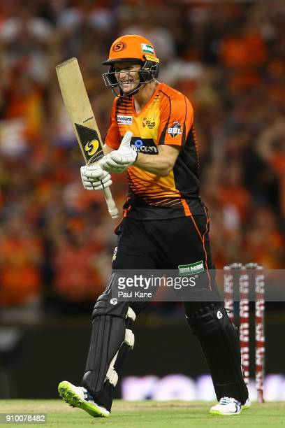 Adam Voges of the Scorchers celebrates after winning the Big Bash League match between the Perth Scorchers and the Adelaide Strikers at WACA on...