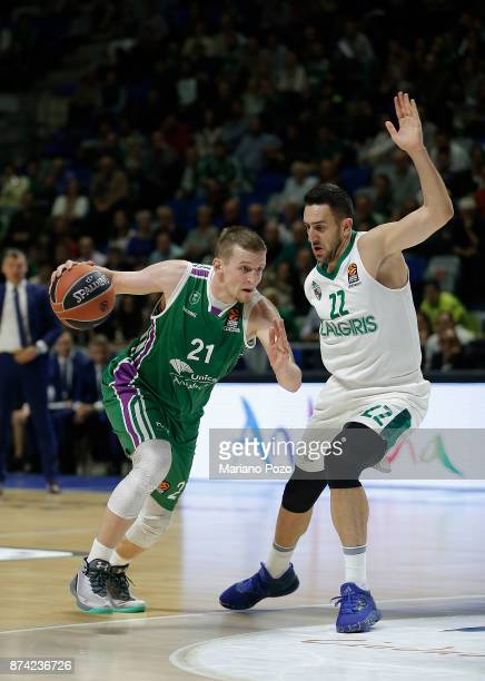 Adam Waczynski #21 of Unicaja Malaga in action during the 2017/2018 Turkish Airlines EuroLeague Regular Season Round 7 game between Unicaja Malaga...