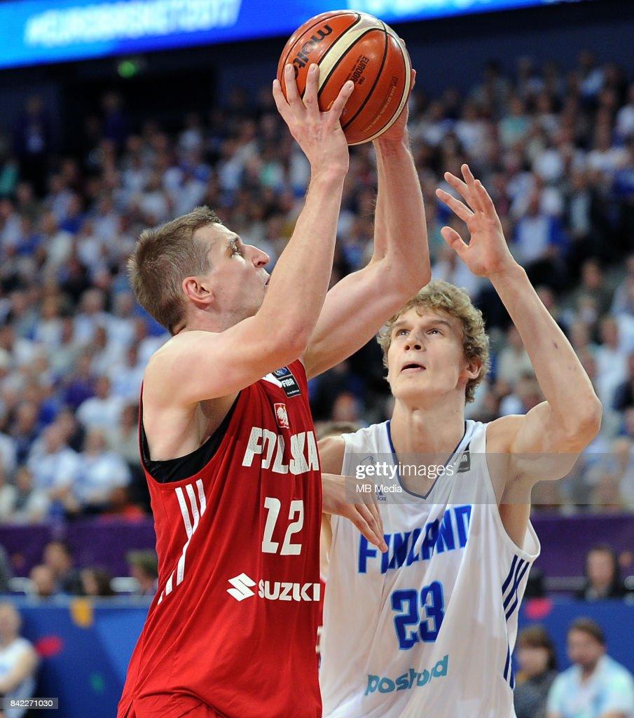 Adam Waczynski of Poland, Lauri Markkanen of Finland during the FIBA Eurobasket 2017 Group A match between Finland and Poland on September 3, 2017 in Helsinki, Finland.