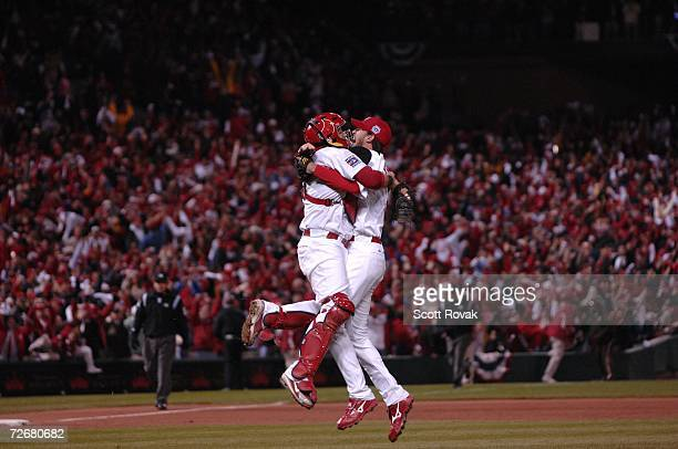 Adam Wainwright and Yadier Molina celebrate after defeating the Detroit Tigers in the World Series during game 5 at Busch Stadium in St Louis...