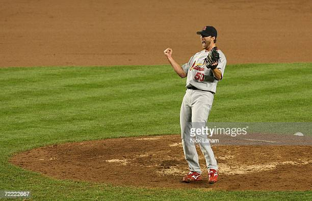 Adam Wainwright of the St Louis Cardinals celebrates after defeating the New York Mets 31 to take game seven of the NLCS at Shea Stadium on October...