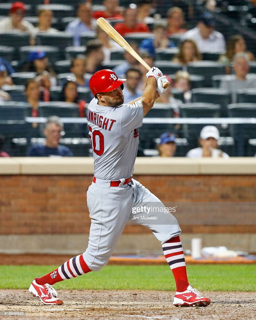 Adam Wainwright #50 of the St. Louis Cardinals follows through on a sixth inning RBI double against the New York Mets on July 17, 2017 at Citi Field in the Flushing neighborhood of the Queens borough of New York City.