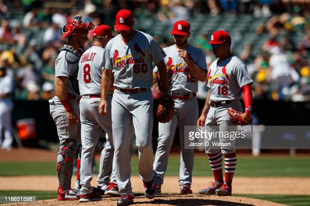Adam Wainwright of the St Louis Cardinals is relieved by manager Mike Shildt during the sixth inning against the Oakland Athletics at the RingCentral...