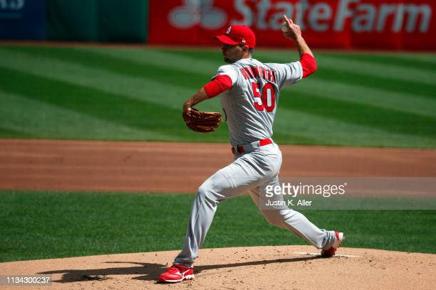 Adam Wainwright of the St. Louis Cardinals pitches against the Pittsburgh Pirates at the home opener at PNC Park on April 1, 2019 in Pittsburgh,...