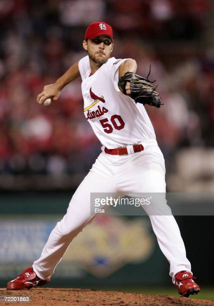 Adam Wainwright of the St Louis Cardinals pitches against the New York Mets in the eighth inning against the New York Mets during game five of the...