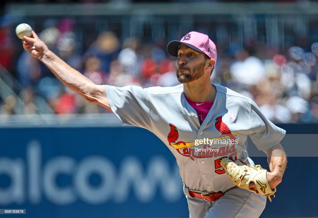 Adam Wainwright #50 of the St. Louis Cardinals pitches during the first inning of a baseball game against the San Diego Padres at PETCO Park on May 13, 2018 in San Diego.