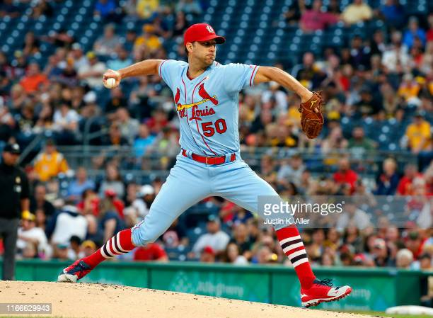 Adam Wainwright of the St. Louis Cardinals pitches in the first inning against the Pittsburgh Pirates at PNC Park on September 7, 2019 in Pittsburgh,...