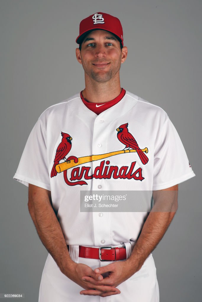 Adam Wainwright #50 of the St. Louis Cardinals poses during Photo Day on Tuesday, February 20, 2018 at Roger Dean Stadium in Jupiter, Florida.