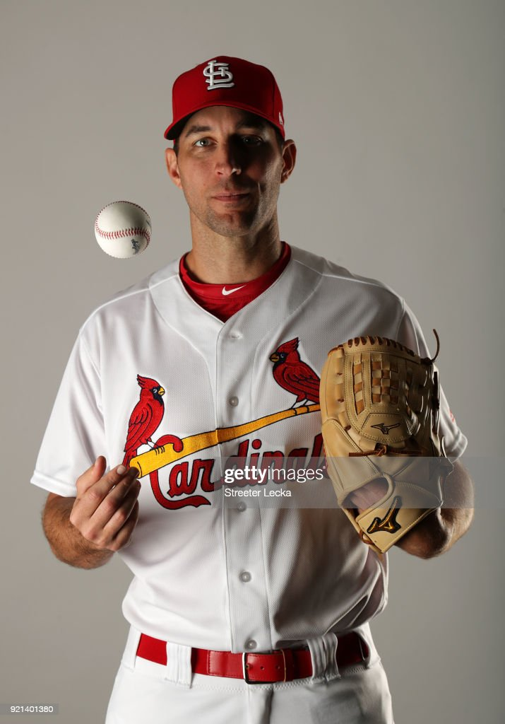 Adam Wainwright #50 of the St. Louis Cardinals poses for a portrait at Roger Dean Stadium on February 20, 2018 in Jupiter, Florida.