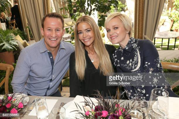 Adam Waldman, Denise Richards and Dr. Barbara Sturm during the Net-A-Porter lunch at hotel Chateau Marmont on February 24, 2017 in Los Angeles,...