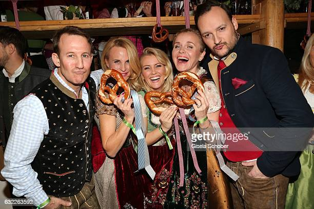 Adam Waldman, fashion designer Sonja Kiefer, Jennifer Knaeble, Barbara Sturm and Felix Moese during the Weisswurstparty at Hotel Stanglwirt on...