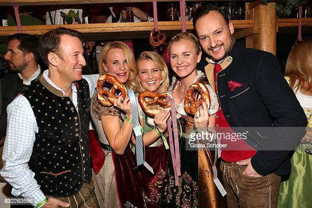 Adam Waldman fashion designer Sonja Kiefer Jennifer Knaeble Barbara Sturm and Felix Moese during the Weisswurstparty at Hotel Stanglwirt on January...