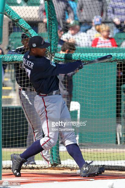 Adam Walker of the Braves warms up before the spring training game between the Atlanta Braves and the Detroit Tigers on March 15 2017 at Joker...