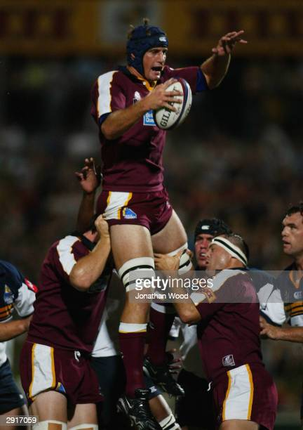 Adam WallaceHarrison of the Reds wins the lineout during the Super 12 Trial match between the Queensland Reds and ACT Brumbies at Ballymore Stadium...