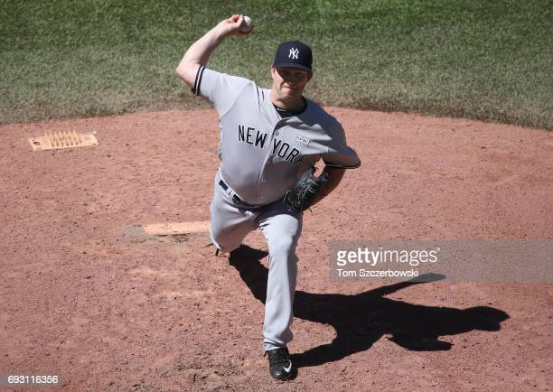 Adam Warren of the New York Yankees delivers a pitch in the seventh inning during MLB game action against the Toronto Blue Jays at Rogers Centre on...