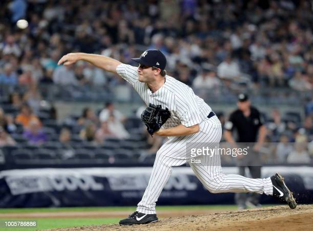 Adam Warren of the New York Yankees delivers a pitch in the sixth inning against the Kansas City Royals at Yankee Stadium on July 26 2018 in the...