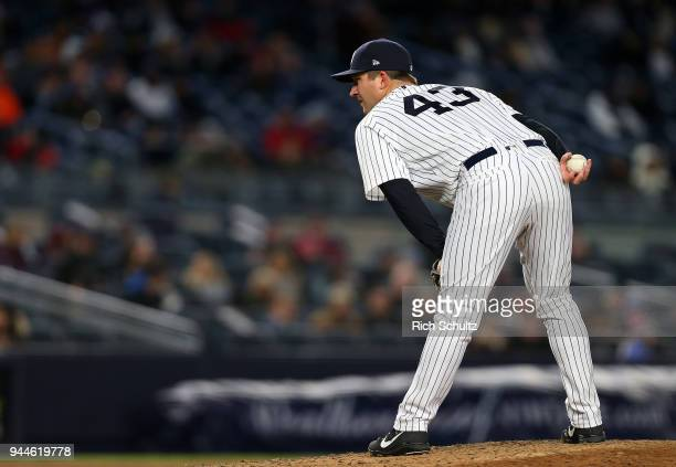 Adam Warren of the New York Yankees in action against the Baltimore Orioles during a game at Yankee Stadium on April 5 2018 in the Bronx borough of...