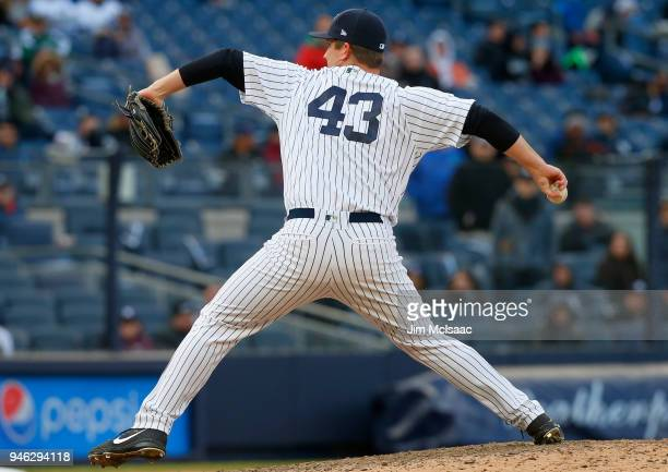 Adam Warren of the New York Yankees in action against the Baltimore Orioles at Yankee Stadium on April 8 2018 in the Bronx borough of New York City...