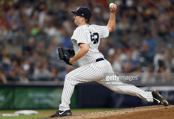Adam Warren of the New York Yankees in action against the Boston Red Sox at Yankee Stadium on June 30 2018 in the Bronx borough of New York City The...