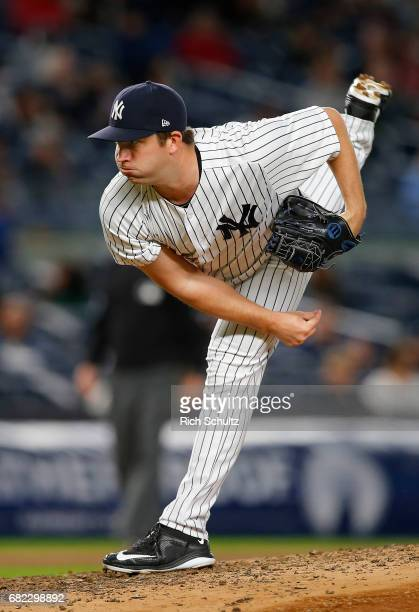 Adam Warren of the New York Yankees in action against the Toronto Blue Jays during a game at Yankee Stadium on May 3 2017 in New York City The...
