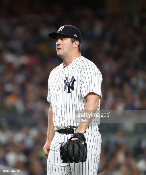 Adam Warren of the New York Yankees leaves the game in the fifth inning against the New York Mets during their game at Yankee Stadium on July 20 2018...